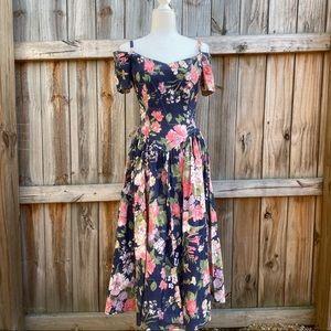 Vintage 80's Blue Floral Sweetheart Tea Dress